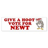 Give A Hoot Vote For Newt Car Sticker