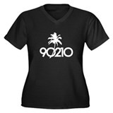 90210 Women's Plus Size V-Neck Dark T-Shirt