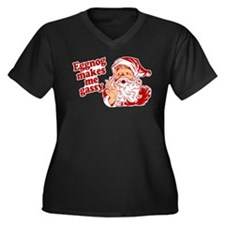 Eggnog Makes Me Gassy Women's Plus Size V-Neck Dar