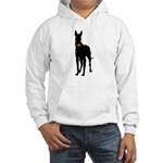 Christmas or Holiday Great Dane Silhouette Hooded
