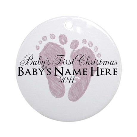 Sweet Footprints - Baby's Fir Ornament (Round)
