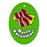 Merry Baconmas Bacon Ornament (Oval)