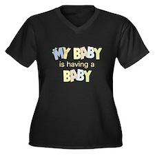 My Baby Having Baby Women's Plus Size V-Neck Dark
