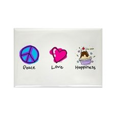 Peace Love and Ice Cream Sundaes Rectangle Magnet