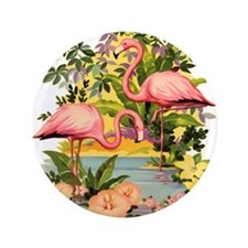 "Pink Flamingos 3.5"" Button"