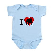 I Love Bulldogs Infant Bodysuit