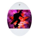 Skateboarder in Cosmic Clouds Ornament (Oval)