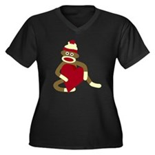 Sock Monkey Heart Women's Plus Size V-Neck T-Shirt