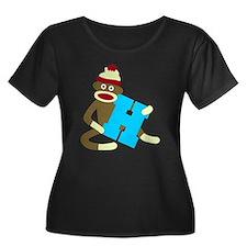 Sock Monkey Monogram Boy H Women's Plus T-Shirt