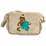 Sock Monkey Monogram Boy K Messenger Bag