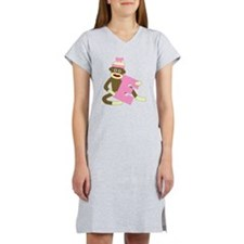 Sock Monkey Monogram Girl E Women's Nightshirt