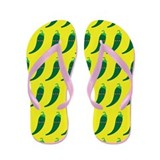 Green Chile Peppers Flip Flops