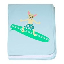 Chihuahua Surfer baby blanket