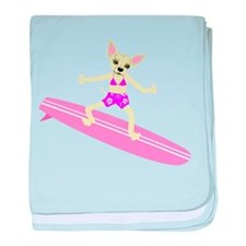 Chihuahua Surfer Girl baby blanket