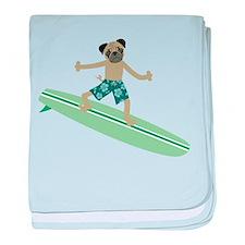 Pug Surfer baby blanket