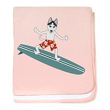 Siberian Husky Surfer baby blanket