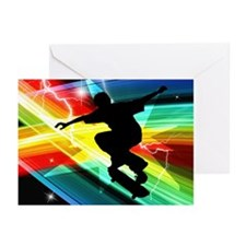 Skateboarder in Criss Cross L Greeting Cards (Pk o