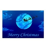 Santa Moon Christmas Postcards (Package of 8)
