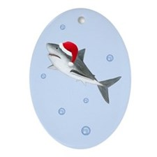 Christmas - Santa - Shark Ornament (Oval)
