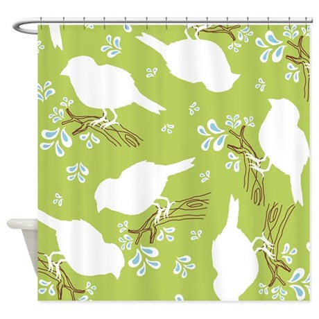Bird Silhouette Green Shower Curtain by Admin_CP45405617