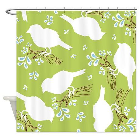 Bird Silhouette Green Shower Curtain by Admin_CP45405617