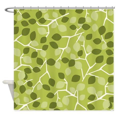 Branch Leaves Green Shower Curtain