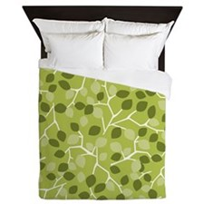Branch Leaves Green Queen Duvet
