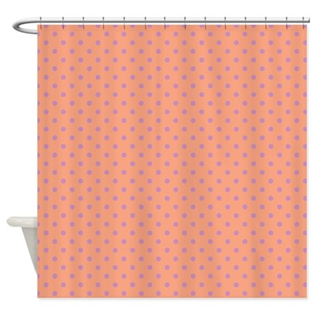 Dots Diagonal Peach Shower Curtain by Admin CP