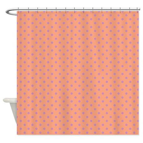 Dots Diagonal Peach Shower Curtain By Admin CP45405617