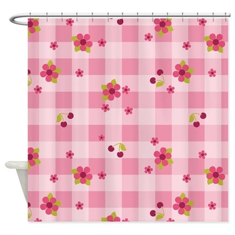 Flower Gingham Pink shower curtain