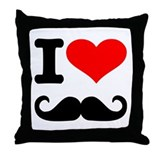 I love mustache Throw Pillow
