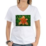 .orange daylily. Women's V-Neck T-Shirt