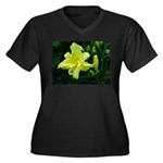 .pale yellow. Women's Plus Size V-Neck Dark T-Shir