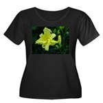 .pale yellow. Women's Plus Size Scoop Neck Dark T-