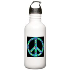 Peace Symbol Midnight Bluejad Water Bottle
