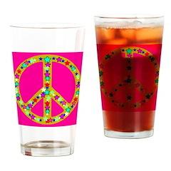 Peace Symbol Bronze Stars on Drinking Glass