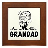 Smiling New Grandad Framed Tile