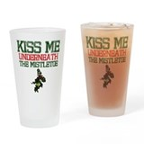Kiss Under Mistletoe Drinking Glass