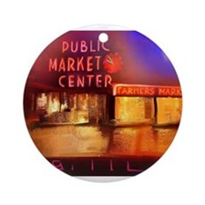 Cute Seattle pike place market Ornament (Round)