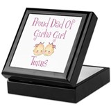 Proud Dad of Girl Twins Keepsake Box