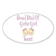 Proud Dad of Girl Twins Oval Decal