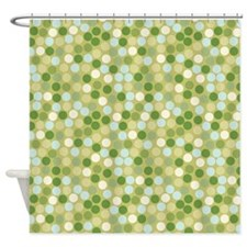 Geo Dot Mosaic Green Shower Curtain