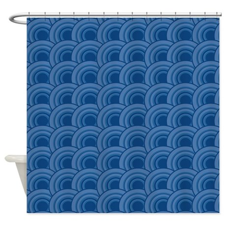 Geo Scales Dark Blue Shower Curtain By Admin CP45405617