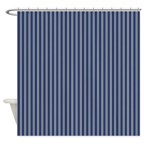 pinstripe double navy shower curtain by admin cp45405617