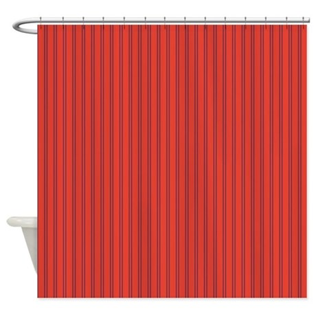 bright red pinstriped / striped shower curtain