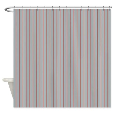Pinstripe Grey Red Shower Curtain By Admin CP45405617