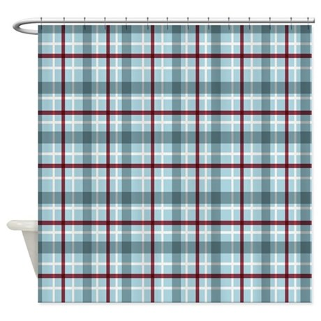 gifts gaat bathroom d cor plaid basic blue red shower curtain