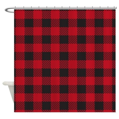 plaid red shower curtain by admin cp45405617