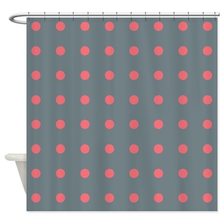Polka Dots Grey Pink Shower Curtain By Admin Cp45405617