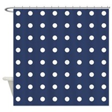 Polka Dots Navy Shower Curtain